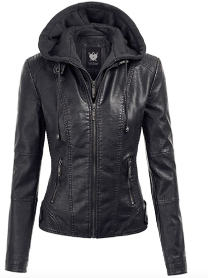 Lock And Love Hooded Faux Leather Jacket