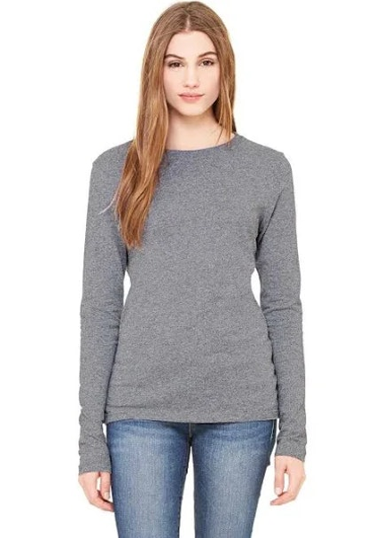 White Black 1Deep Heather Material & Color Legend Number indicates a different fabric.  152% Cotton / 48% Polyester Bella + Canvas 6500 Women's Long Sleeve Crewneck Jersey T-Shirt
