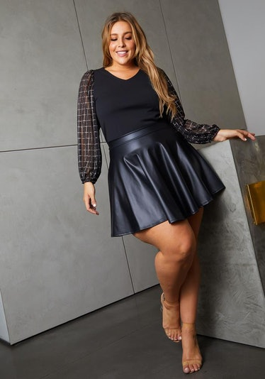 Asoph Plus Size Womens Faux Leather High Waisted Mini Circle Skirt