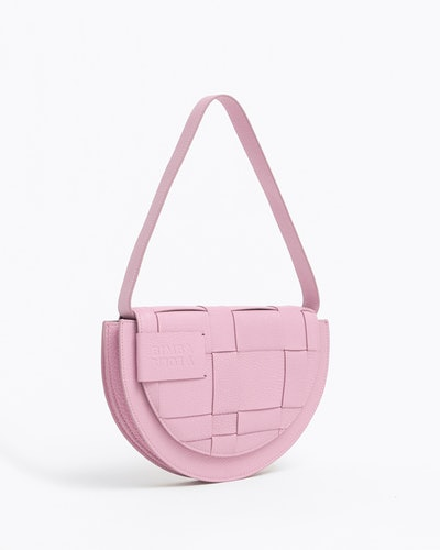 Pink Leather Braided Bag