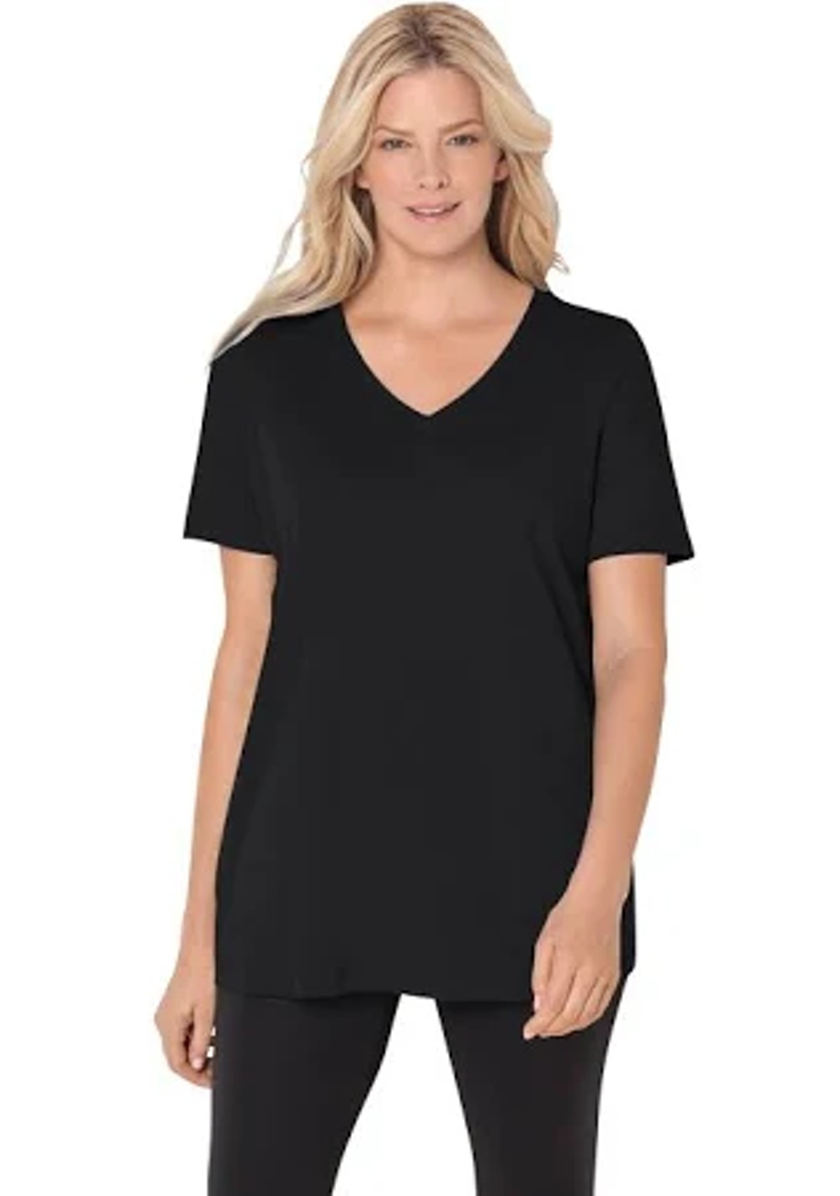 Woman Within Perfect Short-Sleeve V-Neck Tee