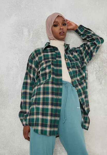 Missguided Green Plaid Extreme Oversized Shirt