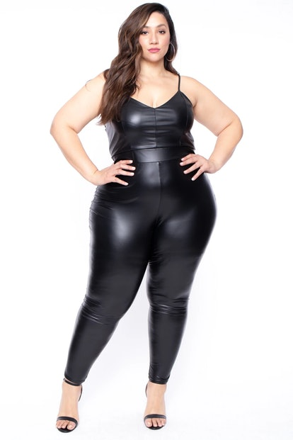 Curvy Sense Plus Size Faux Leather Catsuit