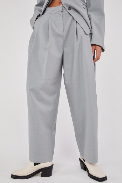 RELAXED WIDE LEG TROUSERS, CLOUD GRAY
