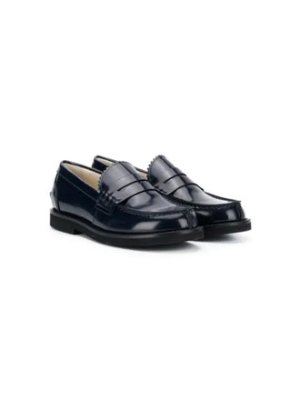 Patent round-toe loafers