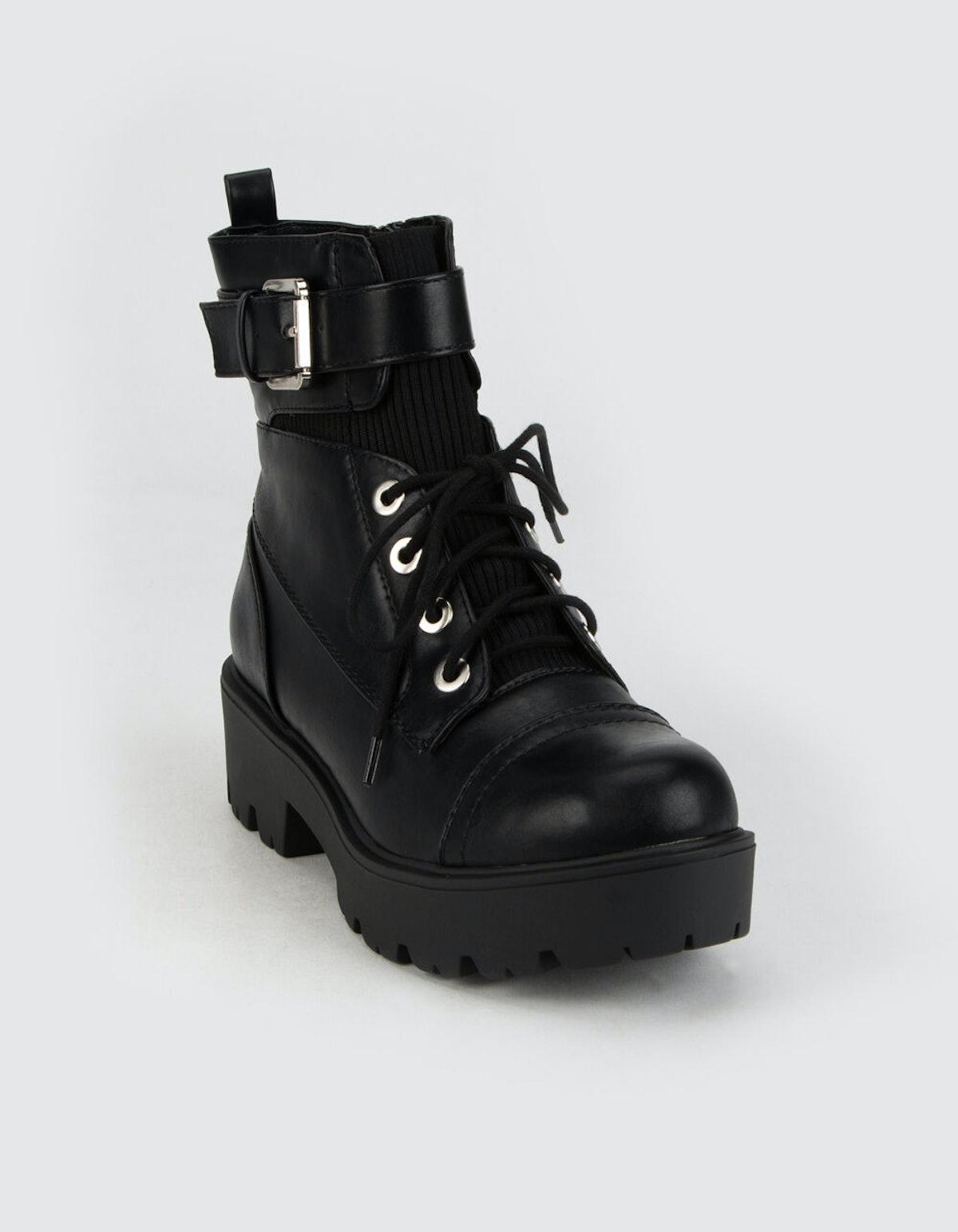 SODA Lug Buckle Womens Combat Boots
