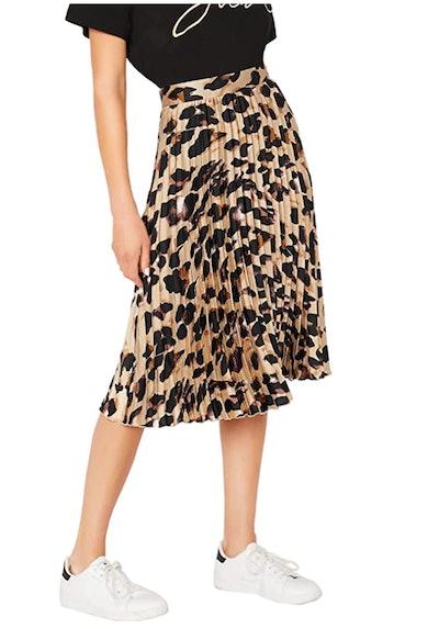 WDIRARA Leopard Print Pleated Skirt
