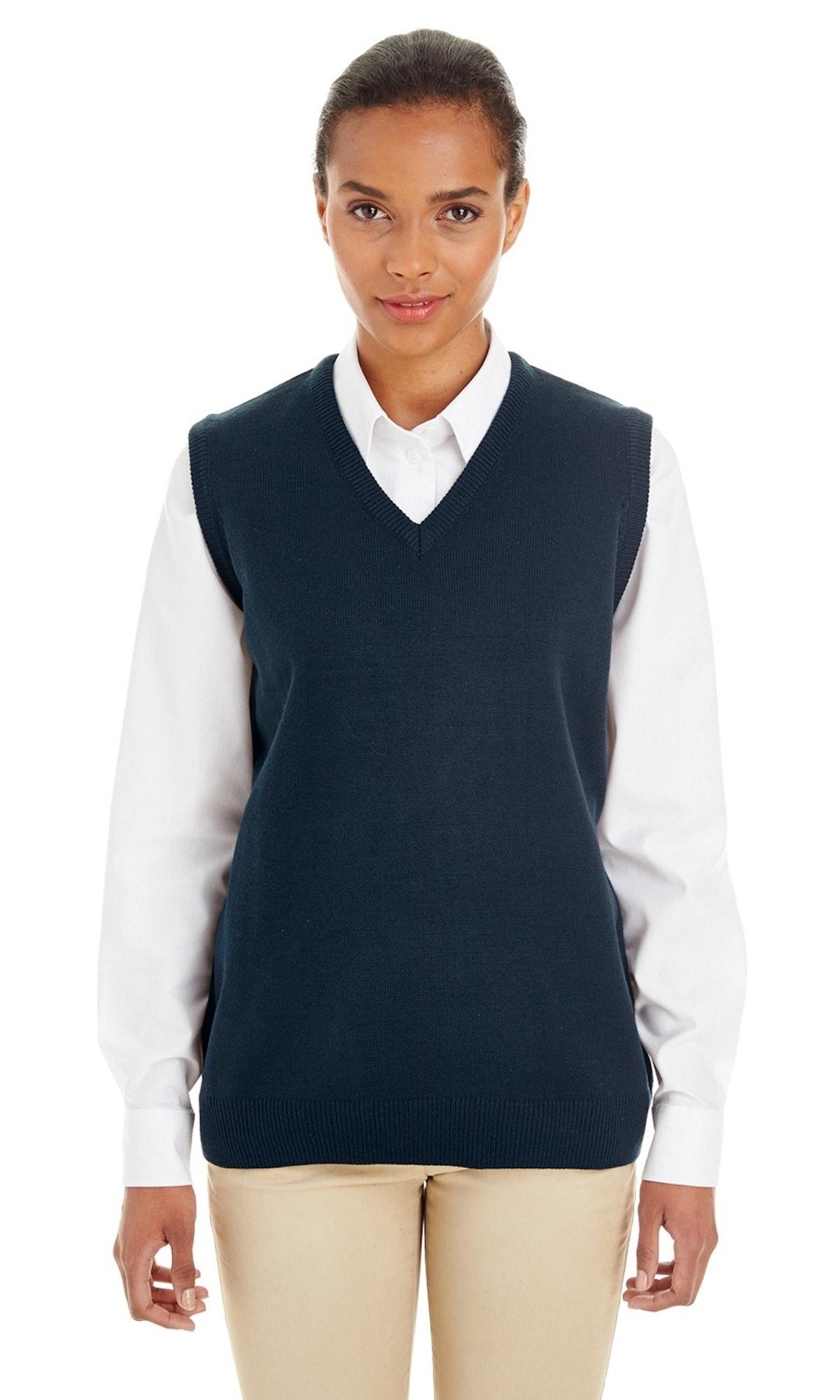 The Harriton Ladies Pilbloc V-Neck Sweater Vest