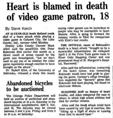 "Article titled ""Heart is blamed in death of video game patron, 18."""