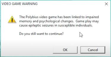 A screenshot of the 2007 Polybius prank.