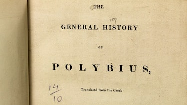 A photo of an old book about the philosopher Polybius.