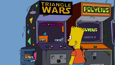 A screenshot of The Simpsons featuring a Polybius cabinet.