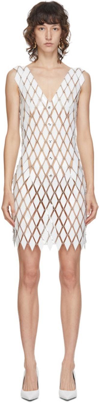 White Linked Diamond Disc Dress