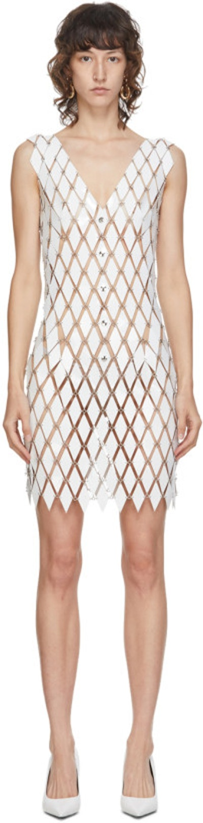 White Linked Diamond Disc Dress