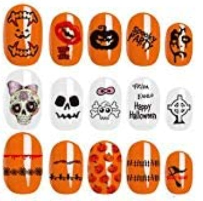 Halloween Nail Art Self-Adhesive Stickers Decals - 8 Sheets