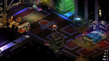 A screenshot of Zagreus' bedroom in Hades.