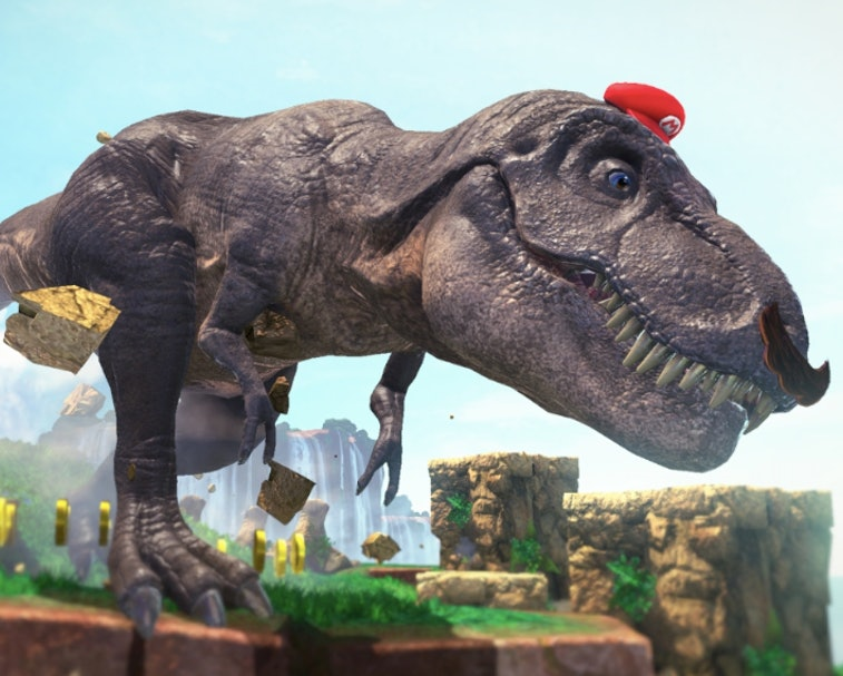 A T-rex is pictured wearing Mario's iconic red hat and a fake mustache.