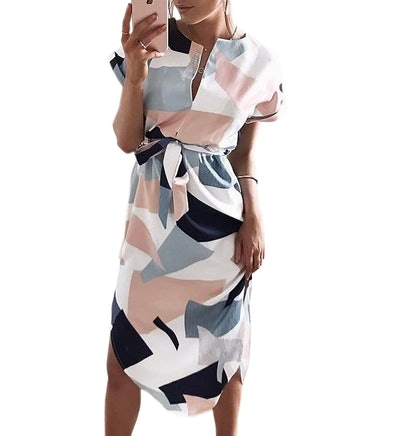 ECOWISH Geometric Dress