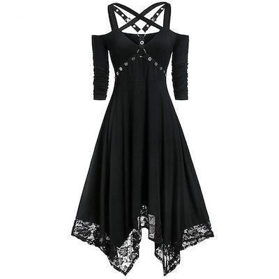 Wish Plus Size Off Shoulder Gothic Style Halloween Dress