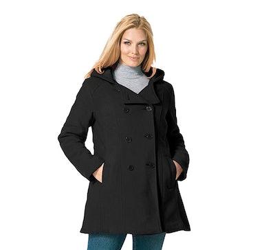 Woman Within Women's Plus Size Hooded Fleece Peacoat