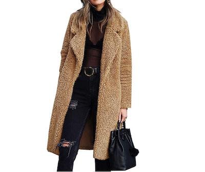 Angashion Women's Fuzzy Fleece Jacket