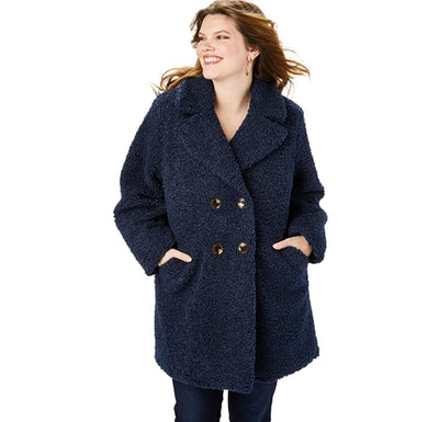 Roamans Plus Size Double-Breasted Teddy Coat