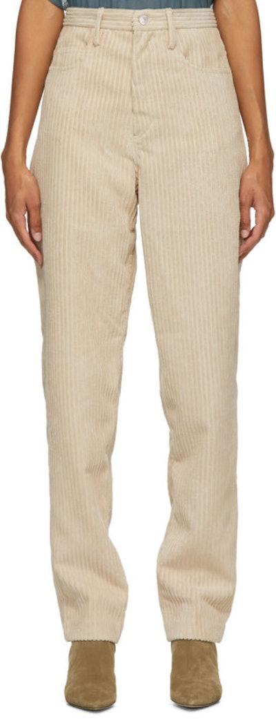 Beige Corduroy Decorsy Trousers