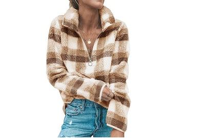 Angashion Women's Zip Up Fleece Sweatshirt