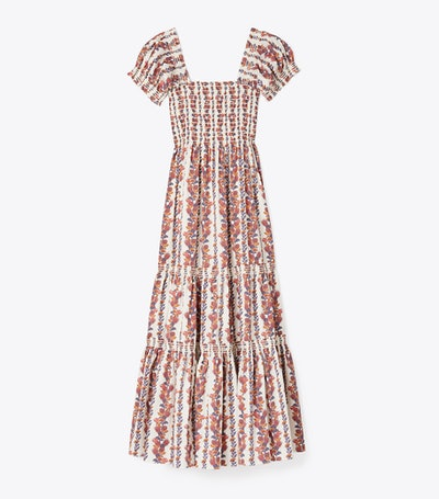 Printed Smocked Midi Dress