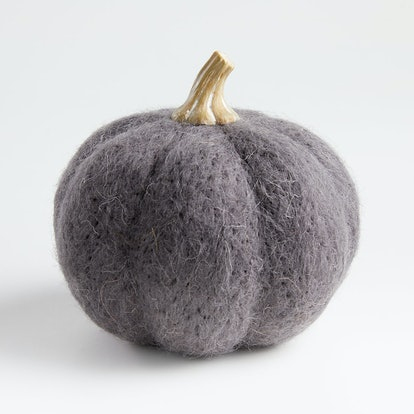 Large Dark Grey Felt Pumpkin