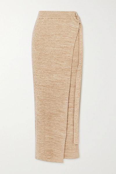 Matilde Layered Ribbed Cotton Maxi Skirt