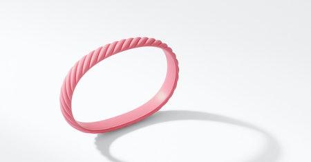 Cable Pink Rubber Bracelet