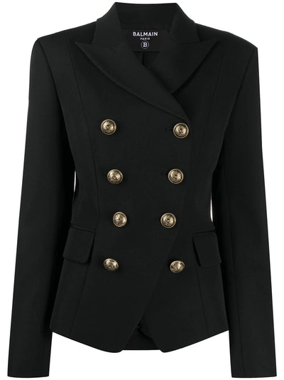 Fitted Double-Breasted Blazer
