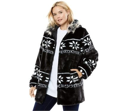 Woman Within Snow Flake Jacket