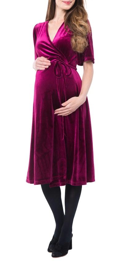 NOM Maternity Genevieve Velvet Maternity/Nursing Dress in Berry