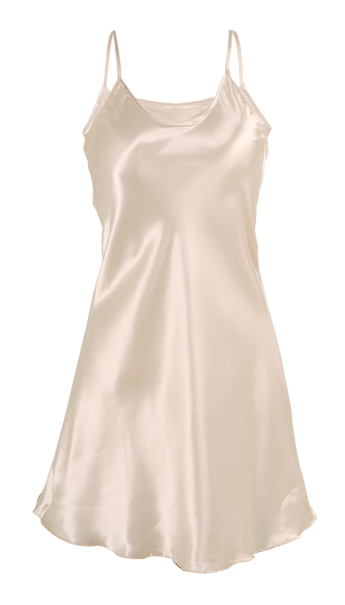 Agnes Orinda Women's Plus Size Silky Leaf Hem Slip Basic Dress Nightgown