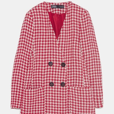 Red & cream houndstooth frock coat