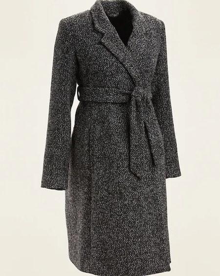 Maternity Textured Tie-Belt Overcoat