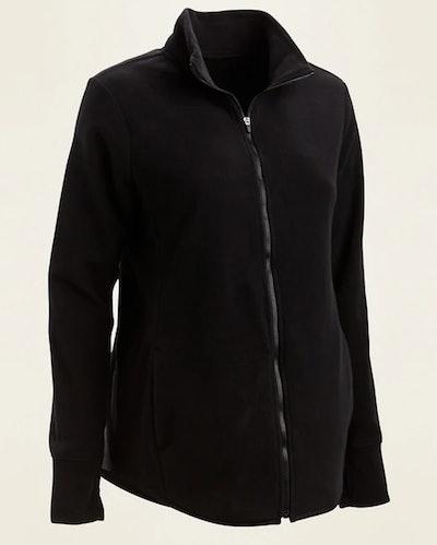 Maternity Go-Warm Performance Fleece Zip-Front Jacket in Black