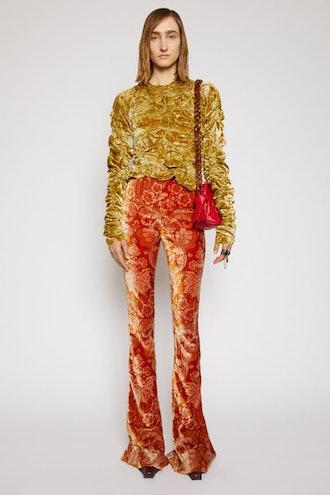 Floral-Jacquard Velvet Trousers Rust Orange