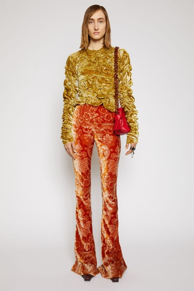 Floral-Jacquard Velvet Trousers Rust Orange