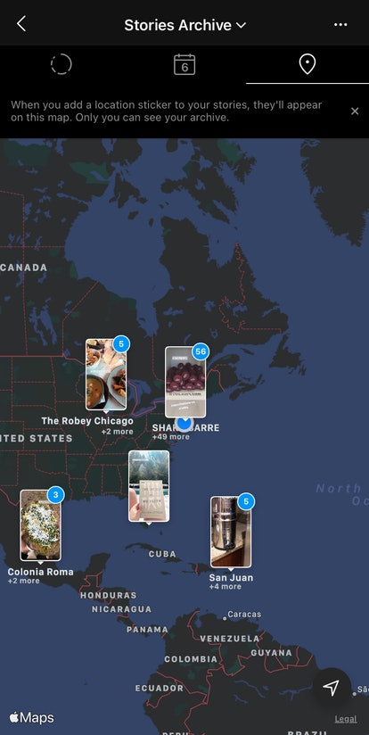 A screenshot of an Instagram story archive map