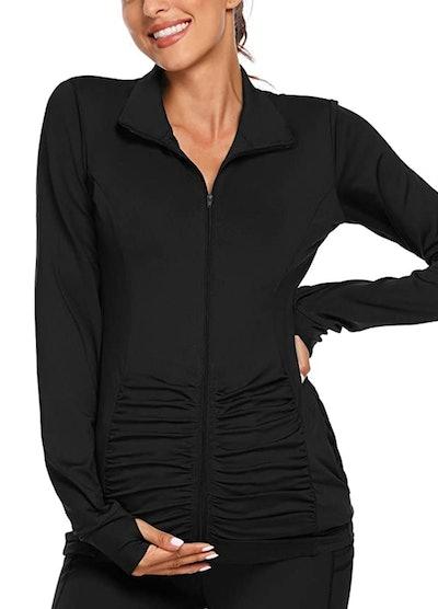 Love2Mi Women's Maternity Full Zip Up Yoga Jacket in Black