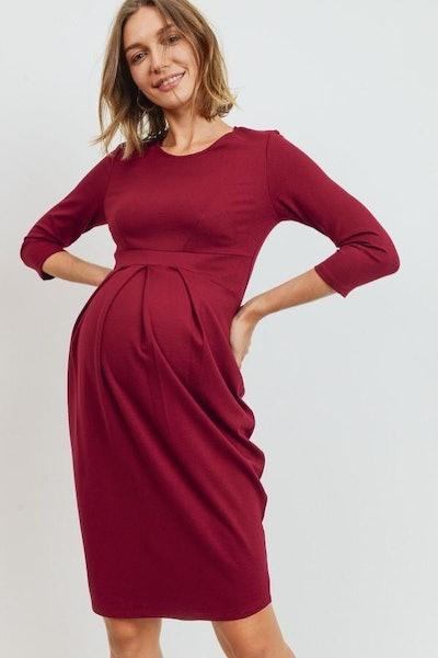 3/4 Sleeve Round Neck Front Pleat Maternity Dress