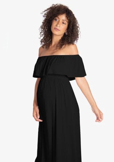 Ingrid & Isabel Off-the-Shoulder Maternity Maxi Dress in Jet Black