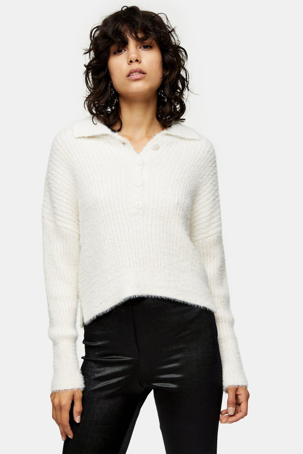 Ivory Fluffy Ribbed Knitted Button Polo Sweater