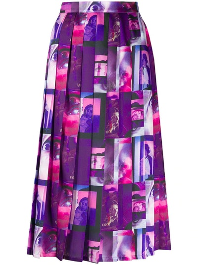 graphic-print pleated skirt