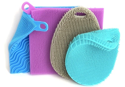 Asiopphire Double Sided Silicone Scrubbing Sponges (4-Pack)
