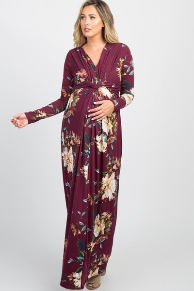 Burgundy Floral Front Twist Long Sleeve Maternity Maxi Dress