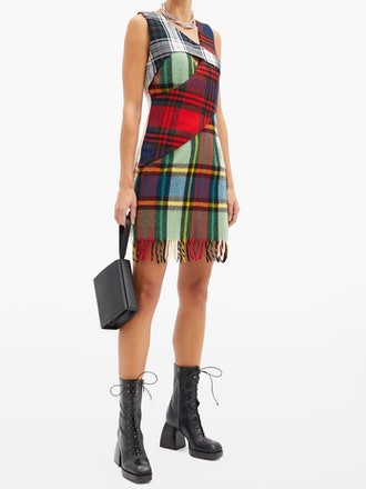Upcycled Checked-Wool Mini Dress